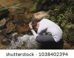the river water is a refreshing ... | Shutterstock . vector #1038402394