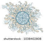 floral rosette with fantasy... | Shutterstock .eps vector #1038402808