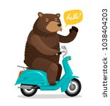 funny bear riding a scooter.... | Shutterstock .eps vector #1038404203