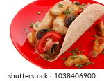 big mexican taco with tomatoes... | Shutterstock . vector #1038406900