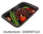 fresh glazed baked big beef... | Shutterstock . vector #1038407113