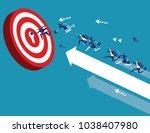 business team reach their goal. ... | Shutterstock .eps vector #1038407980