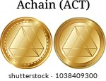 set of physical golden coin...   Shutterstock .eps vector #1038409300