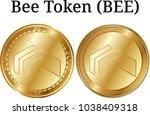 set of physical golden coin bee ...   Shutterstock .eps vector #1038409318