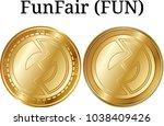 set of physical golden coin... | Shutterstock .eps vector #1038409426