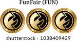 set of physical golden coin... | Shutterstock .eps vector #1038409429