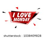 i love monday  sign with red...   Shutterstock .eps vector #1038409828
