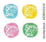 spring sale handwriting vector... | Shutterstock .eps vector #1038412114