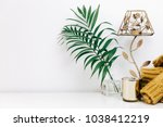 minimal composition with green...   Shutterstock . vector #1038412219