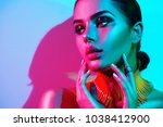 high fashion model woman in... | Shutterstock . vector #1038412900