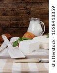 dairy food fresh white greek... | Shutterstock . vector #1038413359