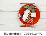 fresh greek feta cheese... | Shutterstock . vector #1038413440