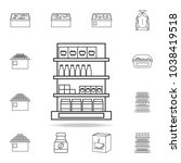 shelves in the grocery store... | Shutterstock .eps vector #1038419518