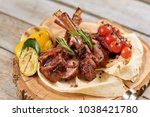 barbecue dish on restaurant... | Shutterstock . vector #1038421780