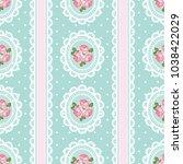 shabby chic rose seamless... | Shutterstock .eps vector #1038422029