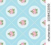 shabby chic rose seamless... | Shutterstock .eps vector #1038422050