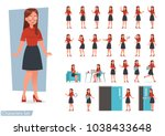 set of women working in office... | Shutterstock .eps vector #1038433648