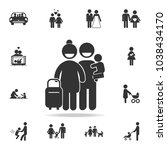 family travel icon vector... | Shutterstock .eps vector #1038434170