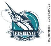 marlin fish logo.sword fish... | Shutterstock .eps vector #1038439723