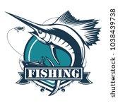 marlin fish logo.sword fish...   Shutterstock .eps vector #1038439738