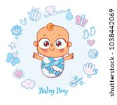 welcome baby. invite greeting... | Shutterstock .eps vector #1038442069