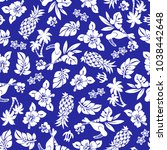 hibiscus and pineapple pattern  ... | Shutterstock .eps vector #1038442648