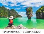 happy traveler woman with... | Shutterstock . vector #1038443320
