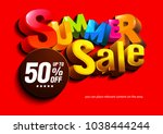 summer sale colorful on red...   Shutterstock .eps vector #1038444244