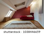 bedroom interior in luxury red... | Shutterstock . vector #1038446659