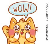 cute ginger cat excited with... | Shutterstock .eps vector #1038447730