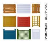 vector set of wooden fence... | Shutterstock .eps vector #1038449923