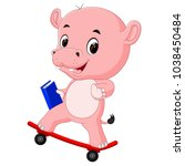 cute hippo playing skateboard | Shutterstock .eps vector #1038450484