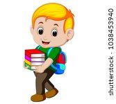 cartoon boy holding a pile of... | Shutterstock .eps vector #1038453940