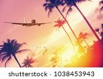 airplane flying over tropical... | Shutterstock . vector #1038453943