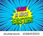 happy easter holiday comic text ... | Shutterstock .eps vector #1038455053