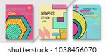set of 3 shiny colorful memphis ... | Shutterstock .eps vector #1038456070