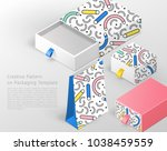 creative pattern on packaging...   Shutterstock .eps vector #1038459559