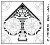 an ornate spades poker suit...   Shutterstock .eps vector #1038462280