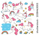 set of cute cartoon unicorn... | Shutterstock .eps vector #1038463003