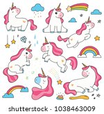 set of cute cartoon unicorn... | Shutterstock .eps vector #1038463009