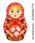 Drawing Of A Matryoshka In Red...