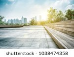 city park under blue sky with... | Shutterstock . vector #1038474358