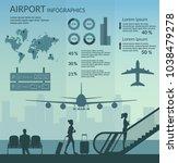 airport passenger terminal and... | Shutterstock .eps vector #1038479278