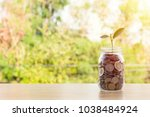 coin in glass bottle or plant... | Shutterstock . vector #1038484924