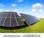 solar energy panels on meadow....   Shutterstock . vector #1038486316