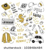 cute doodle collection  print... | Shutterstock .eps vector #1038486484