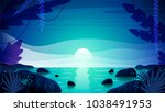 beautiful tropical paradise... | Shutterstock .eps vector #1038491953