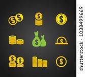 money and coin icon set.vector   Shutterstock .eps vector #1038499669