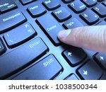 the index finger presses the... | Shutterstock . vector #1038500344
