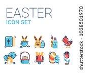 easter icon set vector...   Shutterstock .eps vector #1038501970